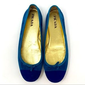 Prada Milano Aqua Blue Suede Bow Ballet Flats